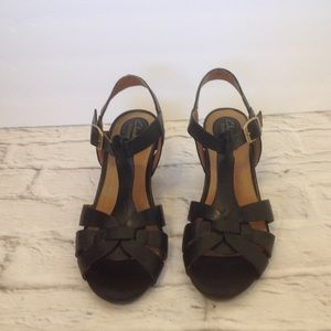 Black Leather Sandals Clarks Wedge